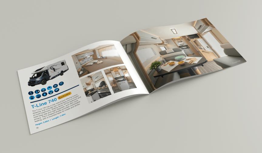 a5 landscape brochure showing motorhomes for hire open