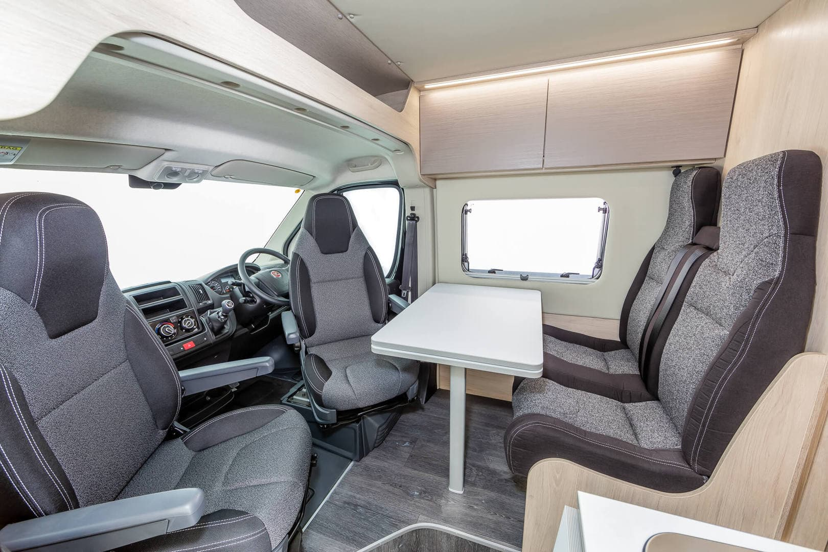 lounge area of an expedition campervan