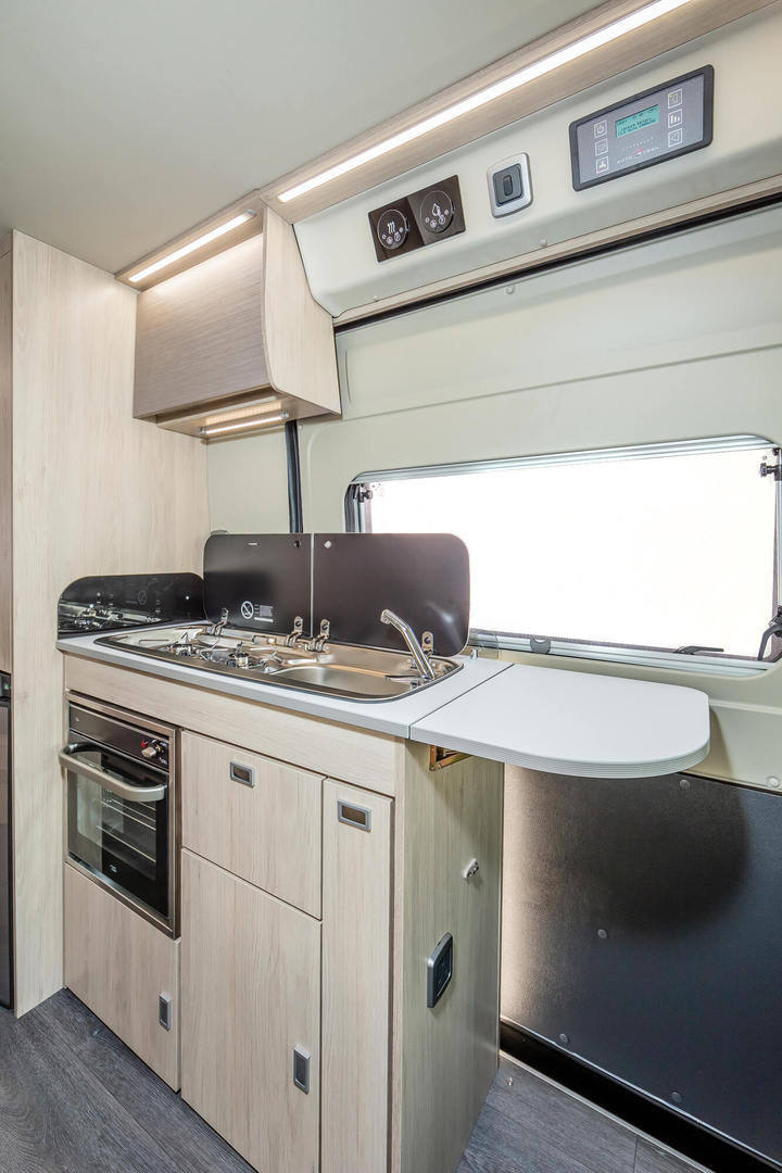 kitchen worktop in a campervan for hire