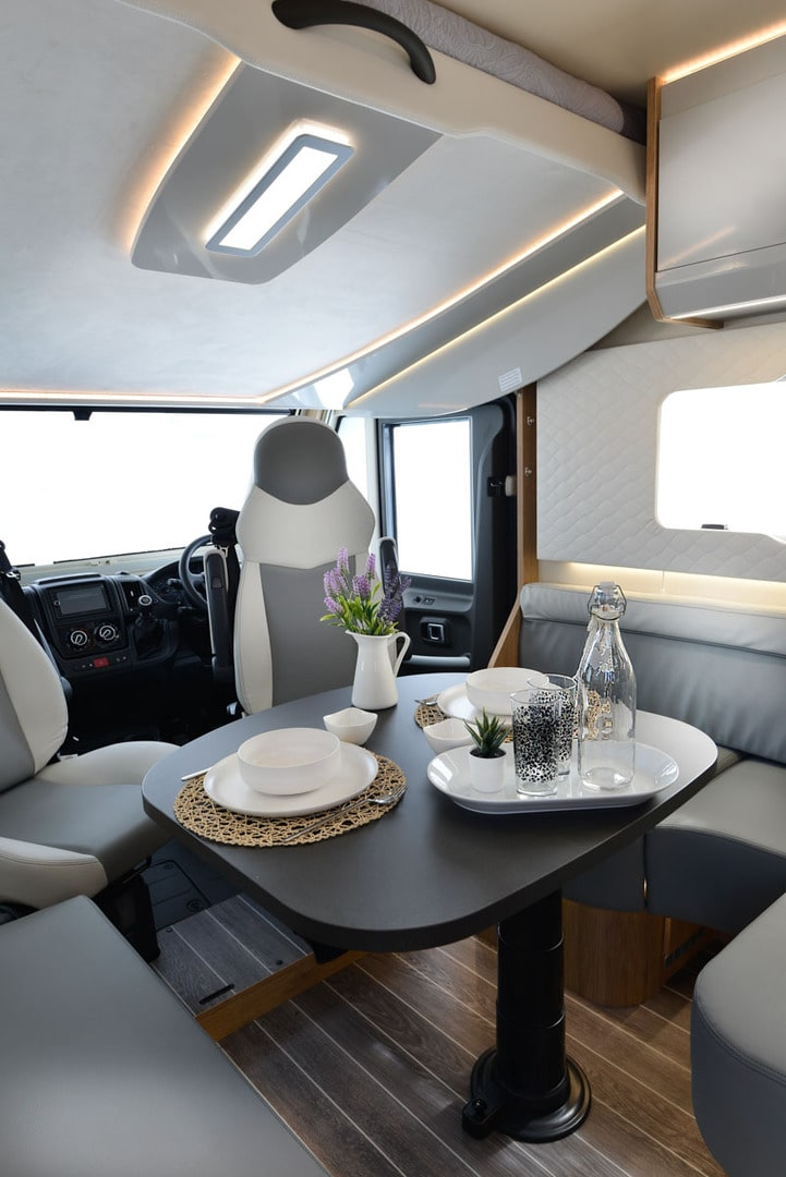 pegaso motorhome for hire front view of the lounge and cockpit